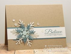 Believe in Christmas Magic with this handmade Christmas card. Kraft paper looks like so much more with blue accent snowflakes and rhinestone bling. Homemade Christmas Cards, Christmas Cards To Make, Christmas Greetings, Homemade Cards, Handmade Christmas, Christmas Crafts, Stamped Christmas Cards, Homemade Greeting Cards, Christmas Snowflakes