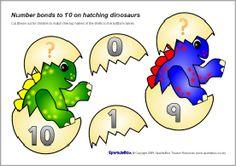 Number Bonds Making 10 on Hatching Dinosaurs (Activity) Dinosaur Activities, Number Activities, Dinosaur Crafts, Classroom Activities, Number Bonds To 20, Partner Cards, Preschool Math, Preschool Ideas, Singapore Math
