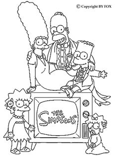 Simpsons Family portrait coloring page. More The Simpsons content on hellokids.com
