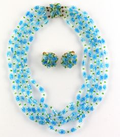Vintage Vendome Art Bubble Glass RARE BLUE  Multi Strand NECKLACE EARRING SET #Vendome