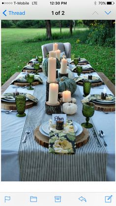 Fun table setting using wood pieces.