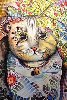 Abstract Cat Art Painting - Smokey ... Abstract Cat Art By Amy Giacomelli