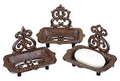 Cast Iron Soap Dishes, Asst. of 3