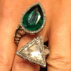 """This Sevan Bicakci ring featured in """"An Emerald City"""" by Margo Raffaelli: """"the favorite gem of rulers (the emerald) took a strong position in the precious hierarchy as early as ancient times, bewitching people with its deep spring color..."""" Thank you @hernameismargo."""