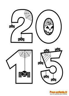 Halloween. 2015 à imprimer en grand, au format A4. Avec des dessins d'araignées à compter. Pour célébrer la date d'Halloween en maternelle.