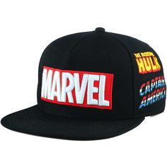 Marvel Emblem Back Panel Snapback Cap ($30) ❤ liked on Polyvore featuring accessories, hats, snapback cap, cap snapback, snap back cap, 5-panel caps and snapback hats