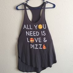 All You Need Is Love And Pizza Tank Oversized tank top with slit sides by RECYCLED KARMA! Brand new I never wore it!! Really soft material!! Super comfy! ❤️ &!! Recycled Karma Tops Tank Tops