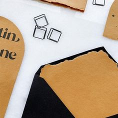 Beautiful honey gold handmade paper accented with solid matte black ink and envelopes. An arch stacked shape with laser cut moon phase. We are loving these elopement suites... Custom Stationery, Stationery Design, Custom Invitations, We Are Love, Love You More Than, Matte Black, Envelopes, Arch, Honey