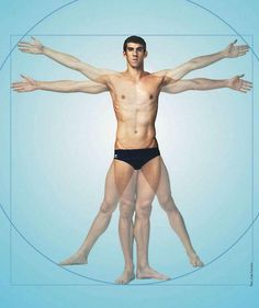 Michael Phelps as Da Vinci's Vitruvian Man.  This is cool, especially since he has such a wide arm span.