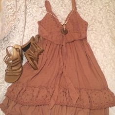 Brown Sundress- worn once! Beautiful spring and summer dress with eyelets. Only worn once, in perfect condition Dresses Midi