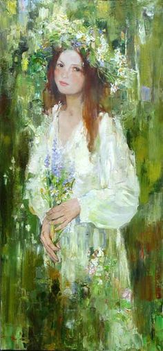 Kirill Datsouk Russian) The birds brought seeds and flowers and bits of brightly colored string and placed them in her hair while she slept so that she would remember the wild joy of spring when she finally awoke. Paintings I Love, Beautiful Paintings, Art Moderne, Green Art, Oeuvre D'art, Love Art, Female Art, Painting & Drawing, Art Photography