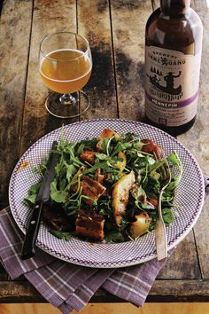 This spicy beer-braised pork belly salad was adapted from one by Cosmo Goss of the Publican restaurants in Chicago