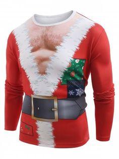 c7e1132e6e1 Funny Santa Muscle Clothes Print Christmas T-shirt