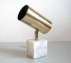 Vintage LAMP OMI/ Koch Lowy Brass Marble Swivel Spot Type 294A Mid Century Modern, Heavy Solid Brass, White Marble Base