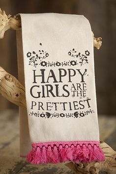 HAPPY girls are the Prettiest cup towel from Junk Gypsy.  Love Audrey Hepburn quotes!