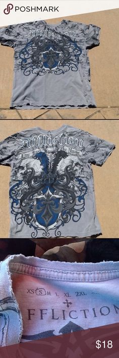 AFFLICTION T-SHIRT Destroyed by manufacturer good condition. Bought at Buckle Affliction Shirts Tees - Short Sleeve