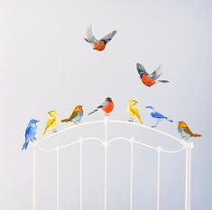 Birds Wall Decals, Nursery Murals, Nursery Woodland Art, Birds in Flight, Playroom Decor, Watercolor Mural - PVC free, Fabric Wall Decals  The Birds are skilfully drawn in traditional watercolor technique. Slight woven texture of our PVC free fabric complements watercolor textures beautifully.  Our wall decals are removable and repositionable many times. The decals are thin, Matt with delicate woven texture. Will cheer up and brighten any nursery or playroom…