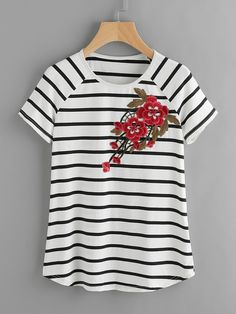 Shop Striped Raglan Sleeve Embroidered Flower Patch T-shirt online. SheIn offers Striped Raglan Sleeve Embroidered Flower Patch T-shirt & more to fit your fashionable needs. Cool Outfits, Casual Outfits, Modelos Fashion, Short Tops, Business Attire, Blouse Styles, Embroidered Flowers, Plus Size Tops, Plus Size Dresses