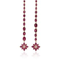 Bronia Pink Sapphire Drop Earrings ($2,655) ❤ liked on Polyvore featuring jewelry, earrings, pink, pink drop earrings, pink earrings, pink sapphire earrings, pink sapphire jewelry and pink jewelry