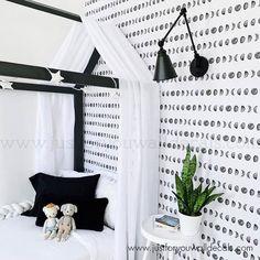 White Girls Rooms, White Kids Room, Black And White Boys Bedroom, Nursery Wallpaper, Wallpaper For Boys Room, Space Boy, Black And White Wallpaper, Cleaning Walls, Decoration