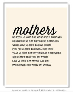 Mothers Matter Typographic Print For Mom. Sentimental Mother's Day or Birthday Gift.  Wall Art For New Mom/ Mom To Be. Motherhood Poem.