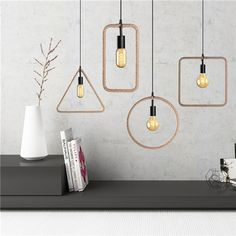 E27 Retro Vintage Industrial Pendant Ceiling Light Creative Hemp Rope Chandelier Lamp AC110-220V
