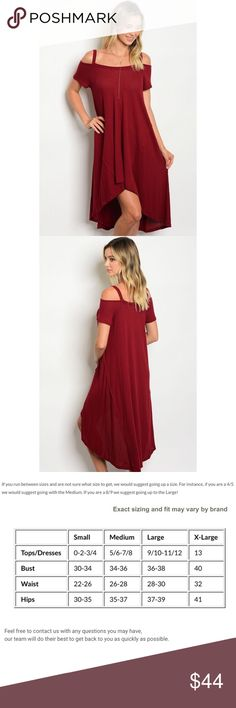 """New red wine colored cold shoulder oversized dress . Brand new from my boutique  . Model is wearing the exact product  . Model is wearing a size small . Fabric Content: 95% RAYON 5% SPANDEX . Made in the USA   Description: LF: 32"""" LB: 34"""" W: 40"""" (Measurements are taken from the small)                   . Use the """"buy now"""" or """"add to bundle"""" feature to purchase . Dresses"""