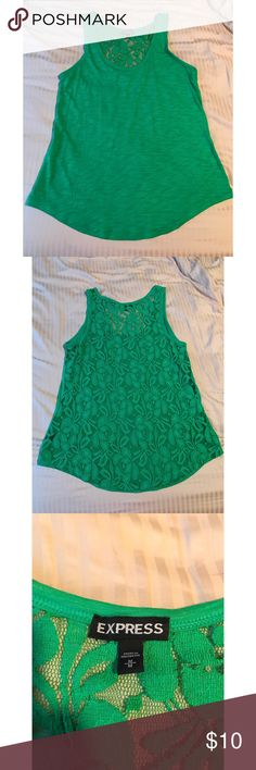 Express lace back tank Green loose fitting tank with a lace back. Great for a night out or day outfit! Worn once. Express Tops Tank Tops