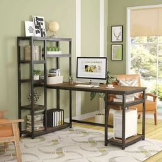 L-Shape Writing Desk with Hutch & Cabinet Home Office Computer Desk Workstation Small Room Desk, Computer Desk With Hutch, Desk Hutch, Desk Shelves, Corner Desk, Computer Desks, Display Shelves, Computer Desk Design, Desks Ikea