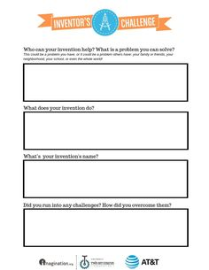 Inventor's Challenge is a contest for kids to win prizes for their invention ideas! Use this worksheet to guide your projects. Register today and happy inventing! Bring Your Own Device, Kids Around The World, 21st Century Skills, Learning Styles, Win Prizes, Creativity And Innovation, Inspire Others, Optimism, Problem Solving
