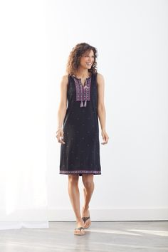 Smile worthy dresses (featuring J.Jill's Embroidered Sleeveless Knit Dress)