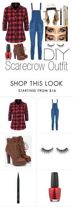 """""""DIY Scarecrow outfit"""" by nohealani2003 ❤ liked on Polyvore featuring Rebecca Minkoff, JustFab, Huda Beauty, Bobbi Brown Cosmetics, OPI, Dolce&Gabbana, halloweencostume and DIYHalloween"""