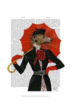 Elegant+Greyhound+and+Red+Umbrella