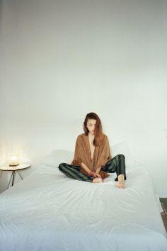 pocho & stripe pants Photo: Berta Pfirsich Styling & Production : Marianne Krauss Make up: Sara Navarro Model: Rebecca Breymas from View Management.