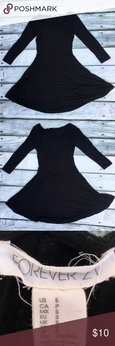 Forever 21 black soft skater dress Super cute, super soft, black skater dress, long/ 3/4 sleeve depending on your arm length. Perfect for any occasion. Forever 21 Dresses