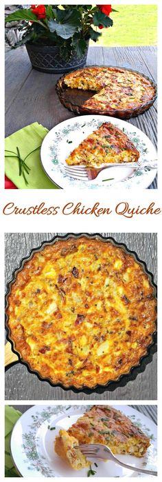 This crustless chicken quiche is full of flavor. You won't miss the crust at all, and will be happy to save on calories.
