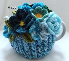 Your place to buy and sell all things handmade Hand Knitted Basket of Bonny Blue Blossoms - 4 cup floral tea cosy Always aspired to learn how to knit, nevertheless uns. Crochet Gifts, Hand Crochet, Hand Knitting, Knitting Patterns, Crocheted Lace, Craft Stick Crafts, Crafts For Kids, Diy Crafts, Knit Basket
