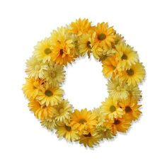 Garden Accents Artificial Yellow Cosmos Wreath Yellow ($55) ❤ liked on Polyvore featuring home, home decor, floral decor, yellow, silk flowers, spring door wreaths, fake flower bouquets, yellow silk flowers and spring wreath