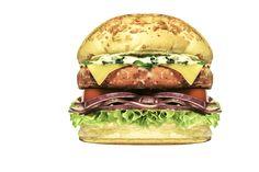 MEDEME! SALMÃO: Pão especial, hambúrguer único de filé de Salmão (200g), queijo mozzarella, molho especial Medeme na base de Iogurte com creme de leite, tomate, cebola roxa e alface americana.