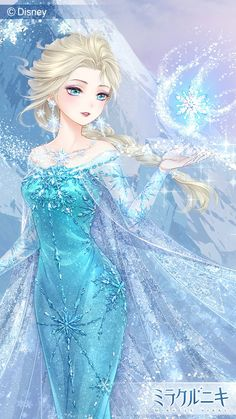 Elsa the Snow Queen in Anime style from Disney's Frozen