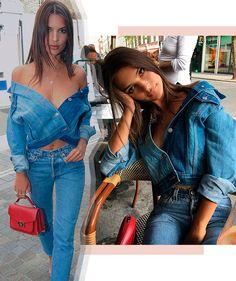 Use sua jaqueta jeans como blusa! É só abotoar um botão e usa-la off the shoulder.