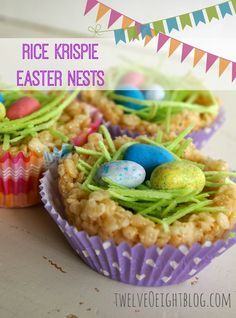 Rice Krispie Easter Nest Treats - twelveOeight