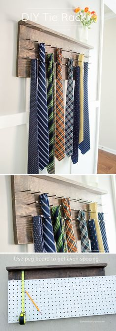 DIY Wood Tie Rack Tutorial    Wouldn't this make a great Father's Day gift? Love the peg board tip. More