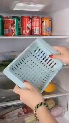 Kitchen Storage Refrigerator Partition Storage Rack - Home Cleaning Products Kitchen Storage Hacks, Cool Kitchen Gadgets, Home Gadgets, Kitchen Hacks, Kitchen Upgrades, Kitchen Things, Under Shelf Storage, Storage Rack, Storage Shelves