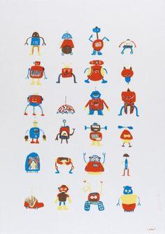 Gravures & Estampes | Encore Super | Les robots | Tirage d'art en série limitée sur L'oeil ouvert Robot, Street Art, Art Graphique, Snoopy, Artwork, Fictional Characters, Contemporary Photography, Old Photography, Prints