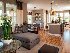 Ryland 2800 The Great Room flows into the Kitchen and Dining Area. Great for family time and entertaining