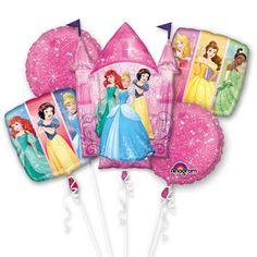 5 Piece Disney Princess Dream Castle Children's Party Foil Balloon Bouquet…