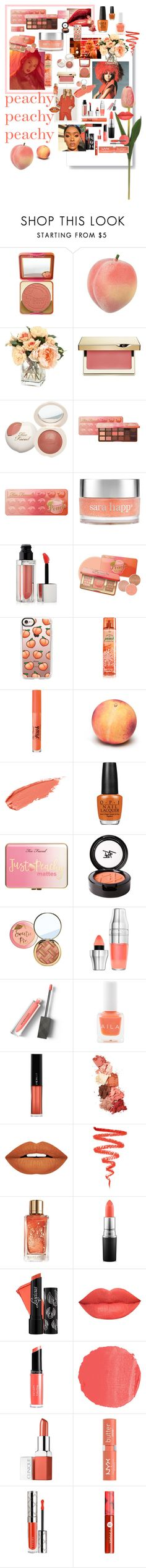 """""""Peachy Peachy Peachy"""" by whenlifegivesyoulemonsandlimes ❤ liked on Polyvore featuring beauty, Too Faced Cosmetics, Clarins, Sara Happ, Maybelline, Casetify, OPI, Just Peachy, Beauty Is Life and Lancôme"""