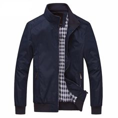 Buy Men Windbreaker Bomber Jacket Lightweight Softshell Outdoor Sportswear Casual Coat - Navy - and Find More From Our Large Selection of Men's Outerwear Jackets & Coats With Big Discount. Mens Lightweight Jackets, Oufits Casual, Mandarin Collar, Col Mandarin, Jacket Style, Jacket Men, Shirt Jacket, Jacket Dress, Men Casual