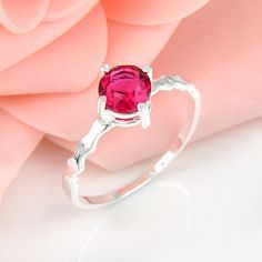 Half Dozen 6 Pieces 1 lot Classic Holiday Party Gift Ruby Quartz Crystal Gemstone Russia 925 Sterling Silver Plated USA Weddiing Party Ring